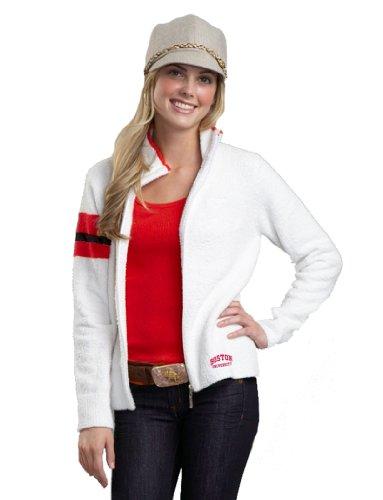 Kashwere U NCAA Boston University 3-farbige Motorradjacke, Herren Damen, 5155-03-29-BU, weiß / rot, Large (8-10)
