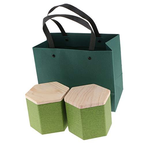 FLAMEER 2 Stück Holzdeckel Aufbewahrungsboxen Holzbehälter Organizer Tee Aufbewahrungsbox Caddy Gläser Kaffeedosen - Grün