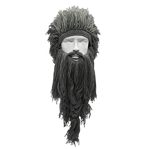 ETbotu Viking Bart Hoed Halloween Cosplay Mannen Breien Viking Bart Hoed Ski Masker Cap grappige gekke Barbarian Vagabond Cool Beanie Winter Warme Unisex muts Grijs