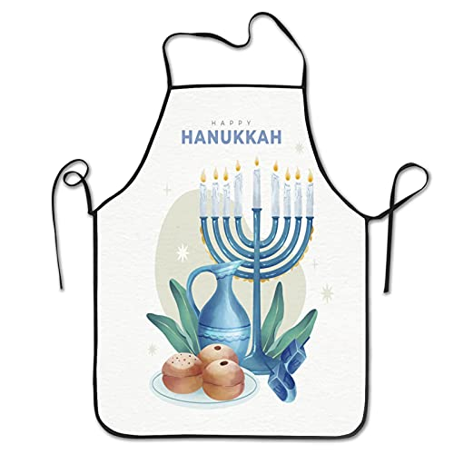 Watercolor hanukkah illustration Aprons for Men Women for Grilling Cooking Chef Kitchen Crafting BBQ Outdoors