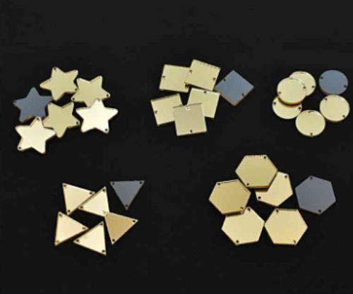 30pcs Gold Mix Acryl-Spiegel Nähen Dekoration, Hand-Stickerei Goldwork Luneville Tambour indischen Shisha-Boho-Mix