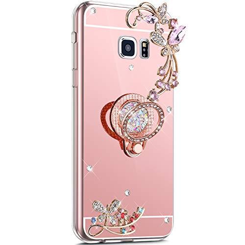 Surakey Compatibile con Samsung Galaxy S7 Edge Cover Glitter Brillantini Specchio Case in Silicone Morbido Bling Diamante con 360 Grado Rotazione Anello Ultra Slim Moda Anti-Scratch Custodia,Oro Rosa