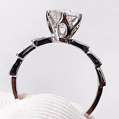 YANGYUE 1Ct Anillo de moissanita Anillos de Serpiente de Diamantes Piedras Preciosas Color D 18 K Chapado en Oro Blanco 925 Plata para Regalo de Boda de Mujer