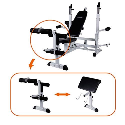 CCLIFE Banc de Musculation Multifonction Banc de muscu réglable avec Cable pour Abdo