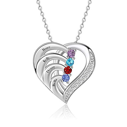 Personalized Sterling Silver Mothers Name Necklace with Simulated Birthstones Custom Heart Pendant Necklace Personalized for Mother's Day (4 name-2)