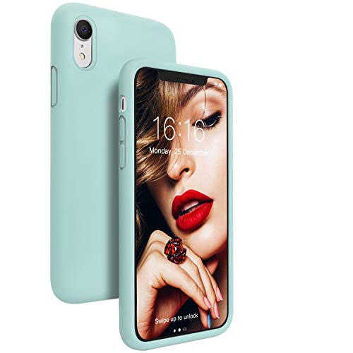 JASBON Case for iPhone XR, Soft Liquid Silicone iPhone XR Case with Raised Edges Cover for iPhone XR-Seafoam