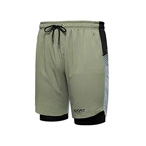 LSSM Pantalones Cortos Casuales para Hombre con Costuras De Color En Contraste, Pantalones De Cinco Puntos Estampados, Pantalones Deportivos CóModos Vaqueros Rotos Hombre Verde M