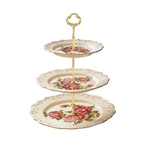 COLiJOL Frutera/Frutera/Frutera/Bandeja de cerámica cesta de frutas estilo europeo moderno hogar de tres pisos plato de frutas soporte para tartas postres, decoración de cesta de frutas