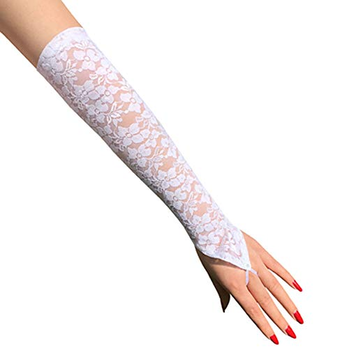 Egurs Brauthandschuhe Abendhandschuhe Lang Fingerlos Handschuhe mit Spitze für Hochzeit Party Weiß