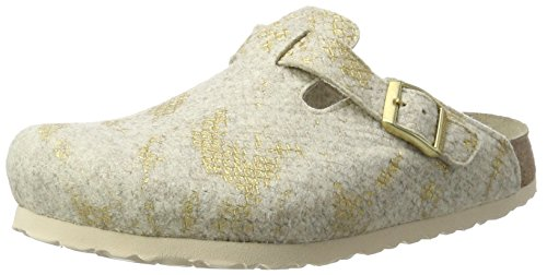 Papillio 1007101 Boston Wollfilz, Damen Clogs, Beige (Shiny Felt Offwhite), 43 EU (9 UK)
