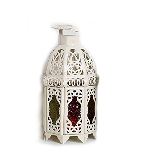 LAMZH Vela Linterna Boda labrado Hierro Vela lámpara de Viento decoración Artesanal decoración marroquí lámpara de Viento Vela Retro Hierro Vela Linterna (Color : White, Size : 10x10x21cm)