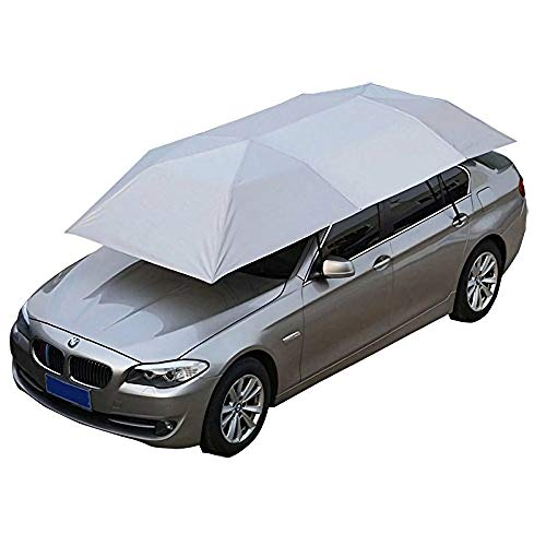 Giraffe-X Car Tent Semi-Automatic Hot Summer Car Umbrella Cover Portable Movable Carport Folded Automobile Protection Sun Shade Anti-UV Canopy Sun-Proof Shelters SUV (Manual Silver)