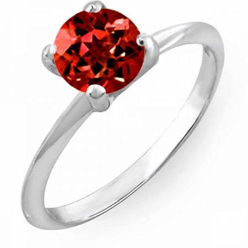 Damen Ring 1.00 Karat 14 Karat Weißgold Rund Red Echte Granat Verlobungsring Solitaire Ring 1 Karat