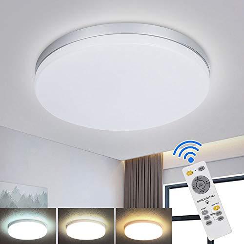 DLLT 24W LED Deckenleuchte Dimmbar mit Fernbedienung, 3 Farbenwechsel, Super Dünn Wohnzimmerlampe Decke 80% Energieeinsparung für Wohnzimmer, Schlafzimmer, Kinderzimmer, Küche, Balkon, Bad