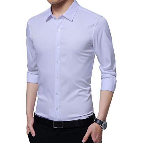 Irypulse Camisa de Hombres Corte Cuello Camisa de Planchado sin Arrugas Manga Larga clásico Slim Fit Seda de algodón Elástica Casual Formal Negocio para Hombre,Blanco-XL