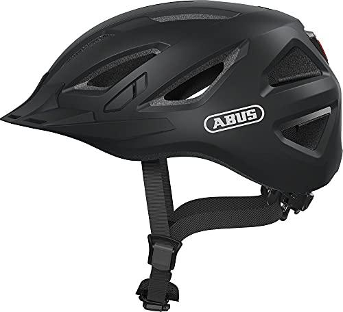 ABUS Urban-I 3.0 Stadthelm - Moderner Fahrradhelm mit Rücklicht für den Stadtverkehr - für Damen und Herren - Schwarz Matt, Größe M