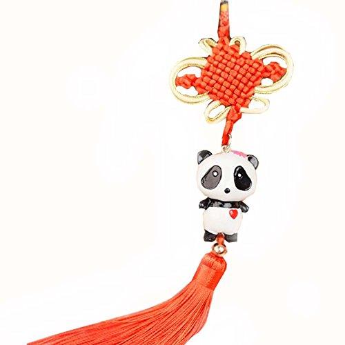 East Utopia Pendentif de Voiture à la Main Noeud Chinois Tassel Panda Accessoires