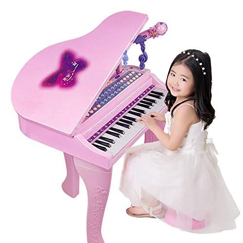 AAFF Kind Elektronisches Klavier, 37 Tasten Kinder Tastatur Piano Spielzeug Klavier Mini Klavier Pädagogisches Spielzeug Mikrofon, Ständer Klavier Spielzeug Elektronisch Musikinstrument,A