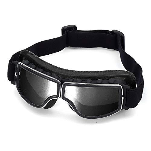 Gafas de moto retro vintage Gafas de protección UV Cafe Racer Flying Eyewear Gafas (Color : Negro)