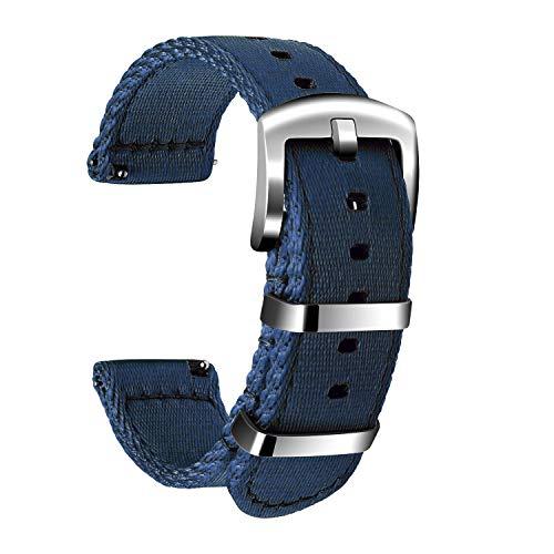 Ullchro Nylon Cinturini Orologi Alta qualità Orologi Bracciale Militari Esercito - 18mm, 20mm, 22mm, 24mm Cinturino Orologio Fibbia Dell'acciaio Inossidabile (20mm, Navy Blue)