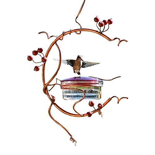 KEKOL Alimentador de pájaros de Metal para Colgar al Aire Libre, alimentadores de colibrí de Loros, alimentador de pájaros de Frutas y Bayas, decoración de Patio Exterior Retro