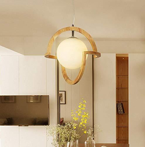 Nordic and gefertigte Holz massivholz pendelleuchte kreative Schatten runde kronleuchter Wohnzimmer Lampe Art Deco,M