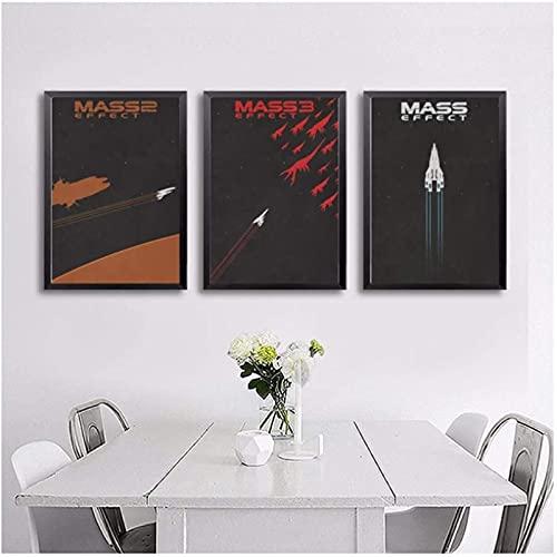 XMYC Póster Obras de Arte Mass Effect Arte de la Pared Pintura Decoración de la Pared Impresiones en Lienzo Arte de la Lona Pinturas 3 Piezas 60x80cm sin Marco