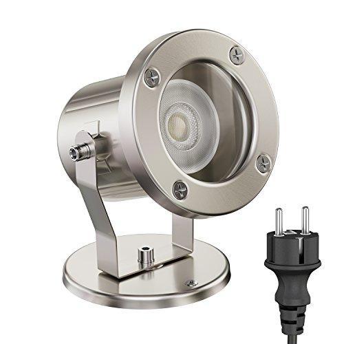 ledscom.de LED Gartenstrahler MIBU für außen, Edelstahl, inkl. GU10 Lampe 5.8W =60W 450lm 30° weiß