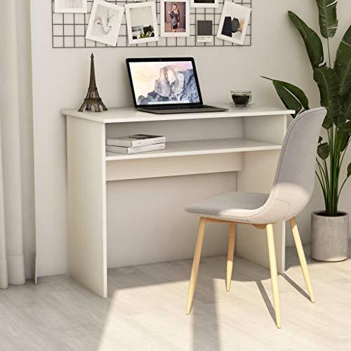 GOTOTOP - Escritorio de trabajo de alto brillo, escritorio de aglomerado con cajón grande, escritorio de dormitorio, escritorio, escritorio, de maquillaje, escritorio de ordenador, 90 x 50 x 74 cm