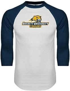 CollegeFanGear Averett White/Navy Raglan Baseball T Shirt 'Averett University Cougars'