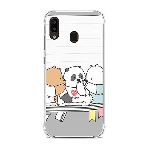 Clear Soft Silicone TPU Liquid Case for Samsung Galaxy A20e, We Bare-Bear Animated 8