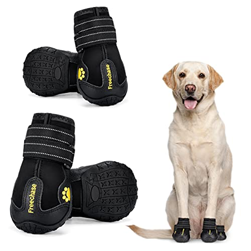 Freechase Dog Shoes for Large Dogs - Dog Booties for Medium Dogs, Dog Shoes for Hot Pavement, Dog Snow Boots with Waterproof Non-Slip Soles Reflective Straps 4PCS