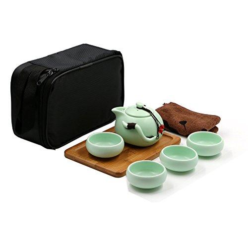 Tragbare Reise Kungfu Tee Set handgemachte chinesische/japanische Vintage, Porzellan-Teekanne und 4 Schüsseln & Bamboo Teetablett & Aufbewahrungstasche (Hellgrün)