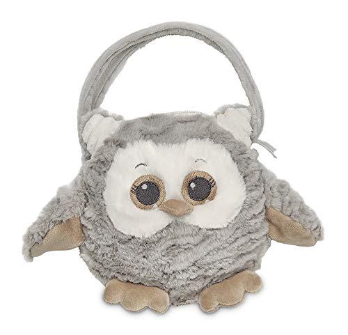 Bearington Owlie Carrysome Girls Plush Gray Owl Stuffed Animal Purse, Handbag 7 inches