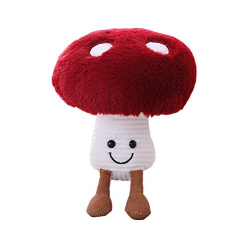 abcd123 Cojín de peluche en forma de seta en 3D para niños, juguete suave relleno, regalo para muñecas, mochila, accesorios, animales de peluche (rojo)