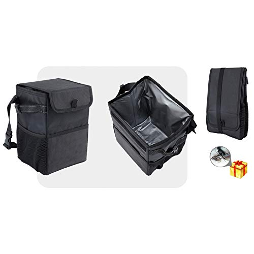 Foldable Car Trash Can with Lid and Storage Pockets 100% Leak Proof Car Garbage Can Portable Multifunctional Car Accessories Organizer for Women and Men by S'DENTE