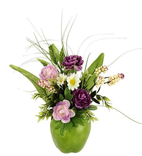 Flair Flower Gesteck/Arrangement Ranunkel im Apfeltopf, Künstliche Frühlingsblumen, Arrangement aus Kunstblumen, Unechte Blumen, Frühjahrsdekoration, Deko, Tischdeko, Frühjahr, Ostern, Osterdeko