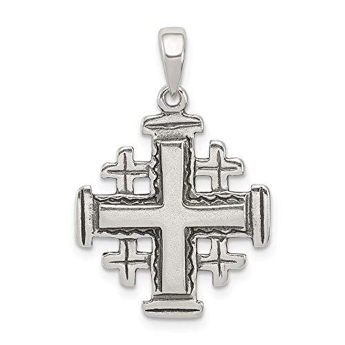 Solid 925 Sterling Silver Cross Antiqued-Style Jerusalem Crusader Pendant (18mm x 29mm)