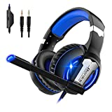 IHAO Stereo Gaming Headset with Noise Cancelling Microphone Cool LED Light Bass Surround Adjustable Headband Wire Controller Universal Compatibility