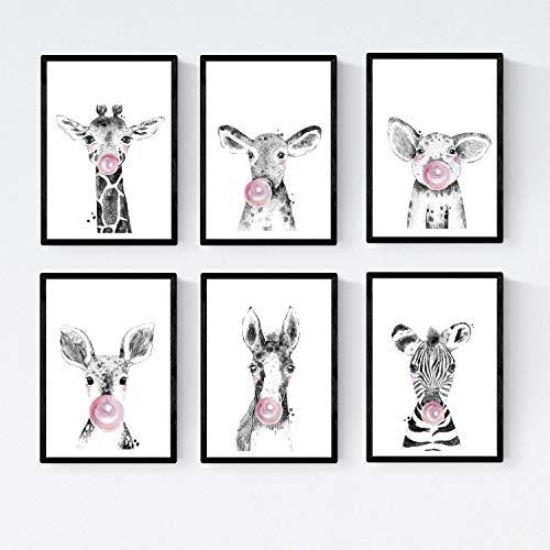Set 6 posters animales bebes con chicle. Cebra Cerdo Girafa Ciervo Vaca Caballo.Tamaño A4