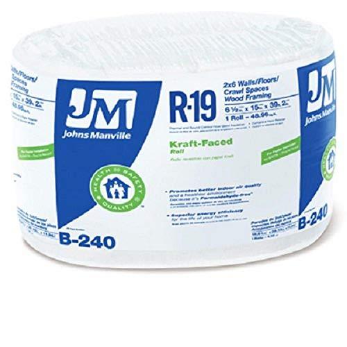JOHNS MANVILLE INTL 990105 15' x 39' R-19 Kraft-Faced Roll x R, 1 piece