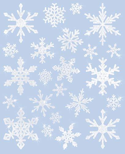 AVERY Zweckform Art. 52298 Fensterbilder Weihnachten 23 Schneeflocken (selbstklebende Fenstersticker, Weihnachtsdeko für Fenster, Fensterfolie ablösbar, glitzernd) 1 Bogen mit 23 Fensteraufklebern