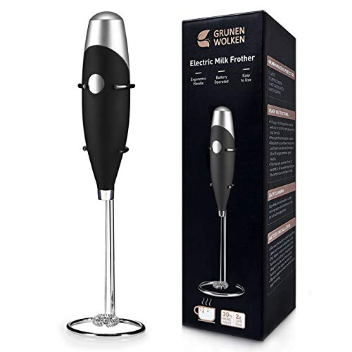 GRUNEN WOLKEN Milk Frother Handheld Get Froth in 7 Seconds High Powered Low Noise with Support...