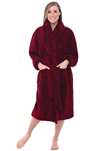Alexander Del Rossa Women's Plush Fleece Robe, Warm Shaggy Bathrobe, Small-Medium Burgundy (A0302BRGMD)