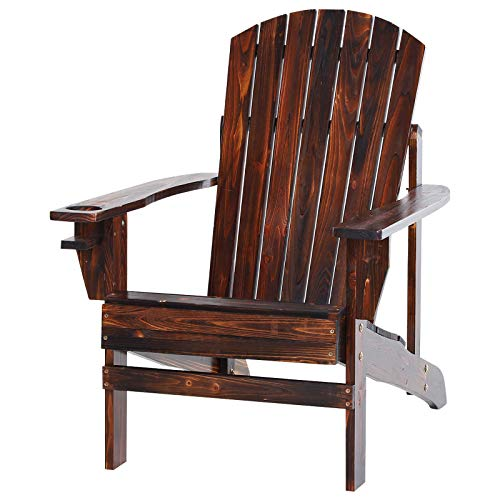 Outsunny Outdoor Classic Wooden Adirondack Deck Lounge Chair with Ergonomic Design & a Built-in Cup Holder, Brown