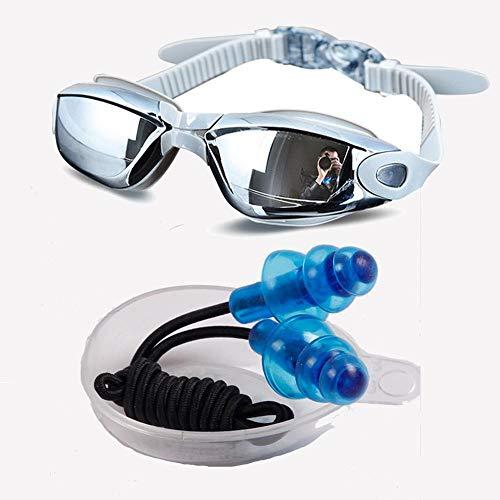 PSHKJ Galvanoplastia Anti-UV Anti-Niebla Traje de baño Gafas Natación Buceo Gafas de natación Ajustables