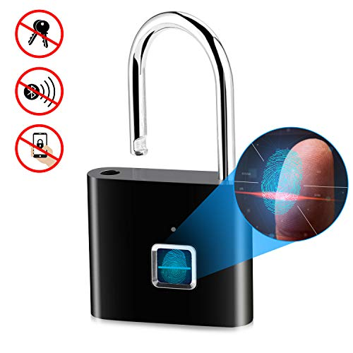 Fingerprint Padlock, IP65 Waterproof Keyless Smart Lock, Ultra Light Fingerprint Lock with USB Charging for Gym Lockers, Backpacks, Doors, Suitcases - Black