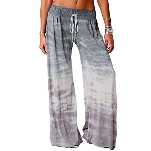 BIBOKAOKE Pantalon d'été pour femme, pantalon de yoga, pyjama, pantalon de pyjama doux, coupe ample - Pantalon de sport - Pantalon de loisirs - Pantalon de plage large