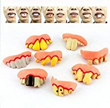 TOPCOMWW 8 Fake Teeth Funny Halloween Decoration Props Whole Person Funny Toy Party Simulation Prom Denture Braces