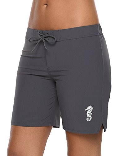 Sociala Swim Board Shorts for Women Long Swimsuit Shorts Grey Surf Boardshorts